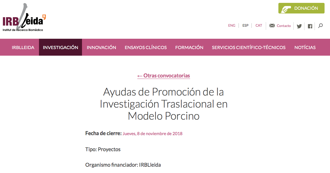 Last days for deadline of the call for projects of IRBLleida!